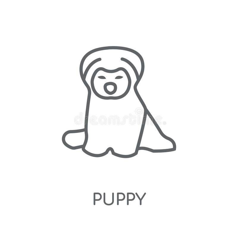 puppy linear icon. Modern outline puppy logo concept on white ba stock illustration