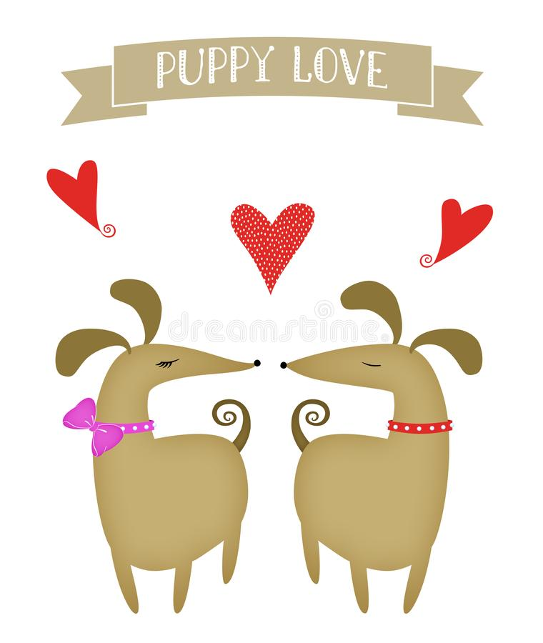 Puppy Love - Cute Illlustration of Two Dogs in Love stock images