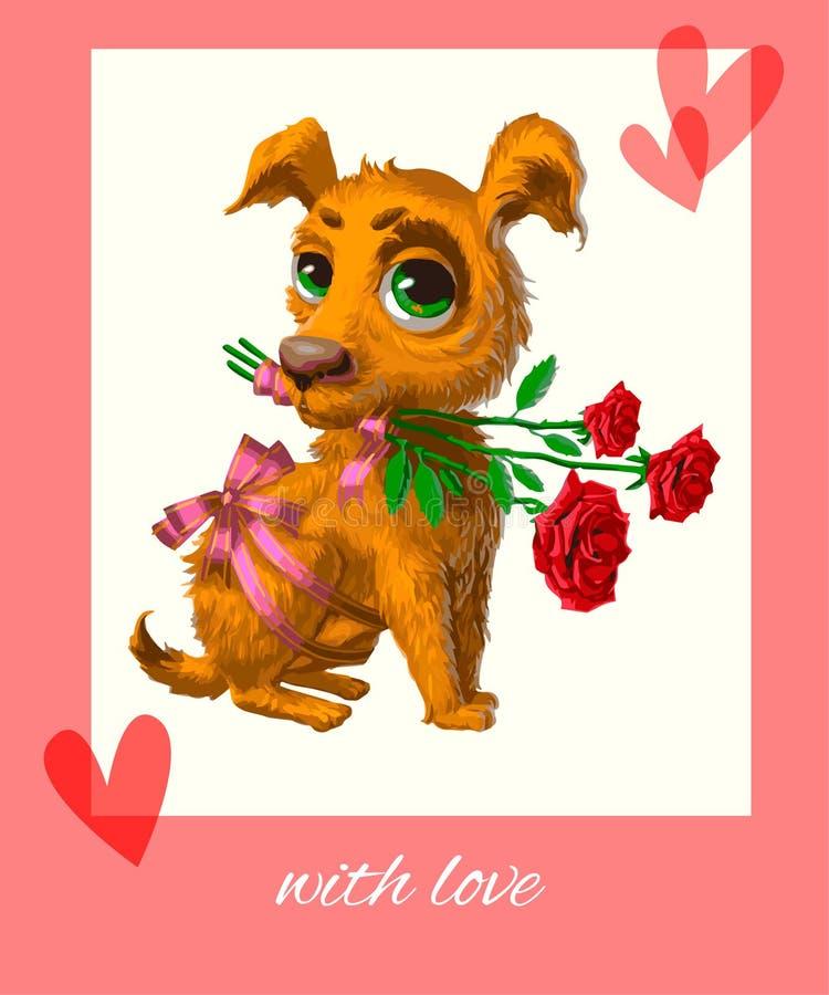 Puppy met bloemen stock fotografie