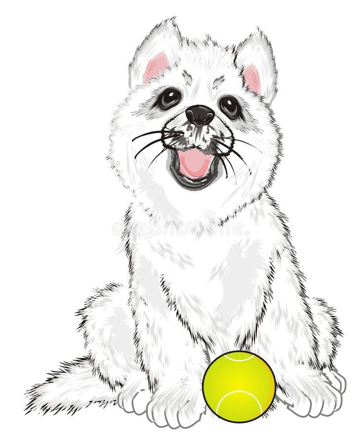 Puppy met een bal stock illustratie