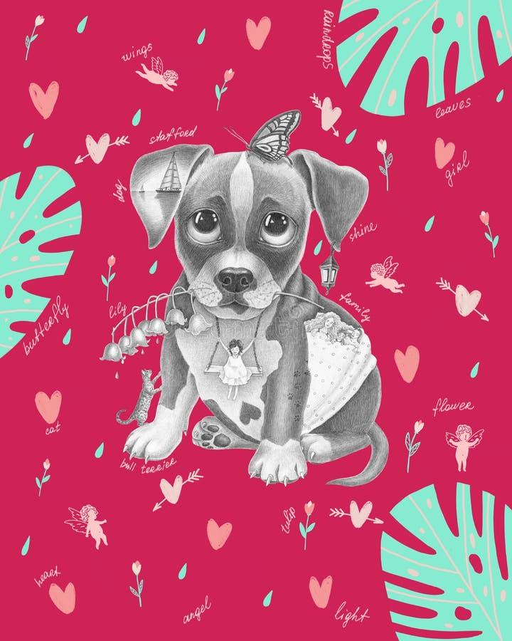 Puppy met een vlinder op het hoofd vector illustratie