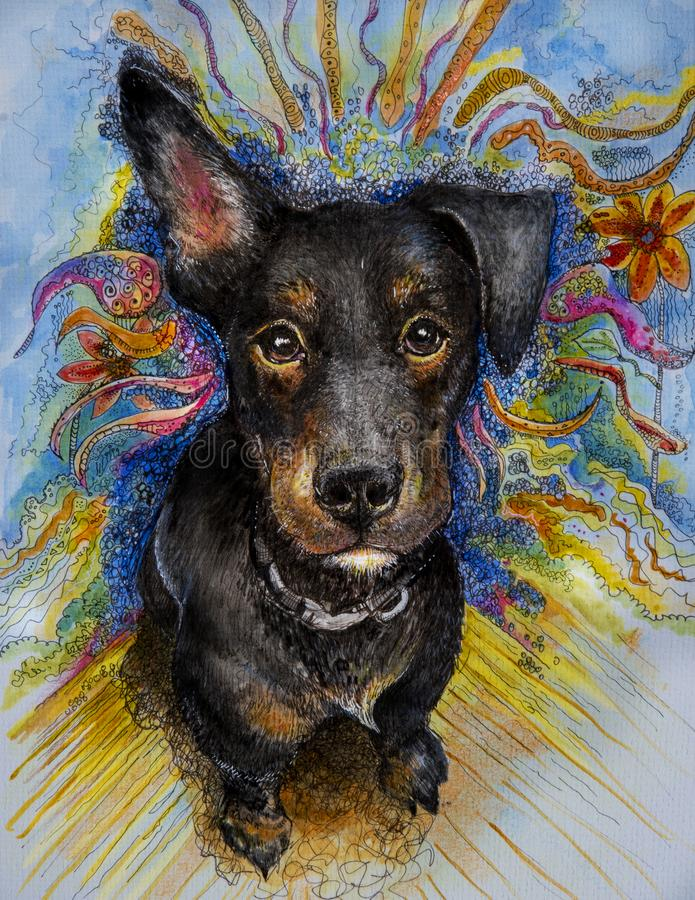 Puppy met grappige oren gemengde media vector illustratie