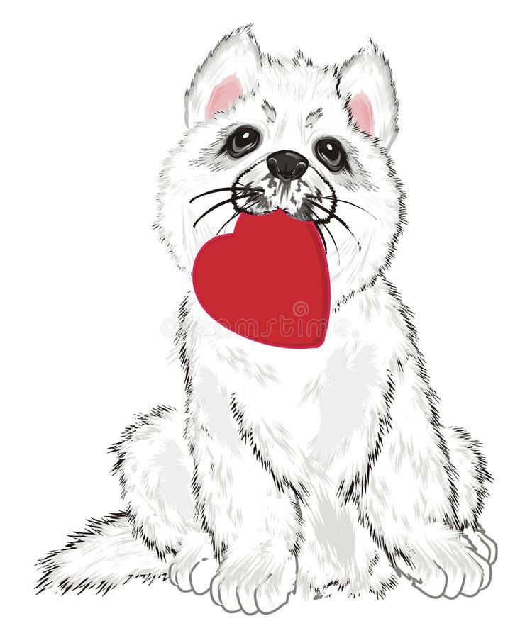 Puppy met hart stock illustratie