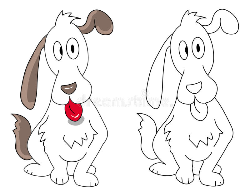 Puppy And Outline Royalty Free Stock Photos