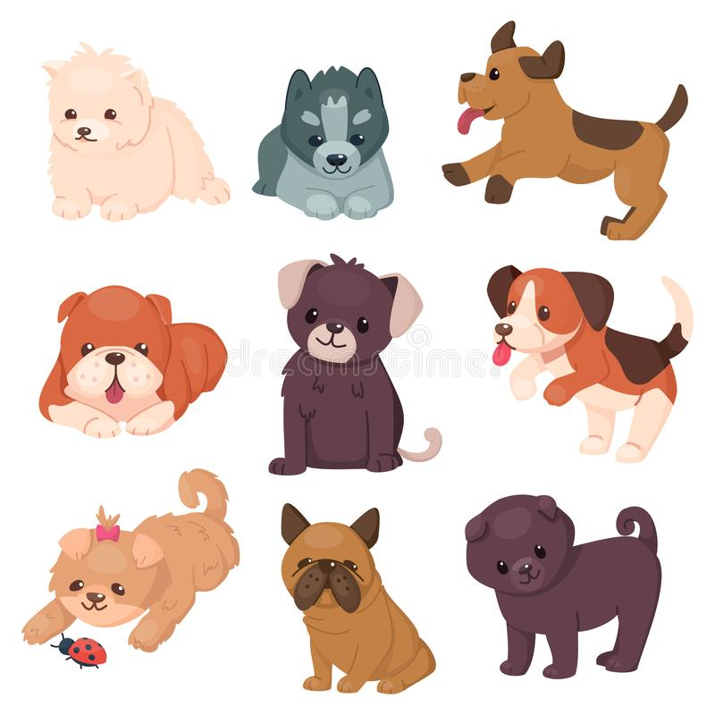 Puppy set with beautiful cute dogs. Different breeds of happy jumping and sitting pets. Husky and bulldog, pug and jack vector illustration