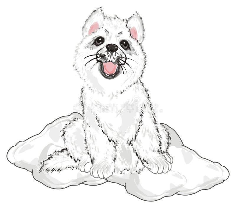 Puppy in Sneeuw vector illustratie