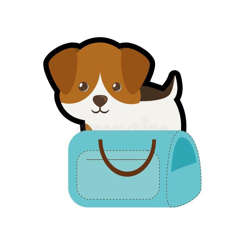puppy weinig de boodschappentasreis van het portret mooie blauwe huisdier vector illustratie