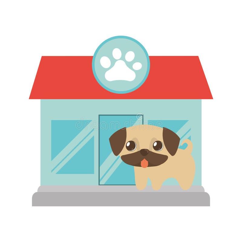 puppy weinig de pootdruk van de tong uit dierenwinkel royalty-vrije illustratie