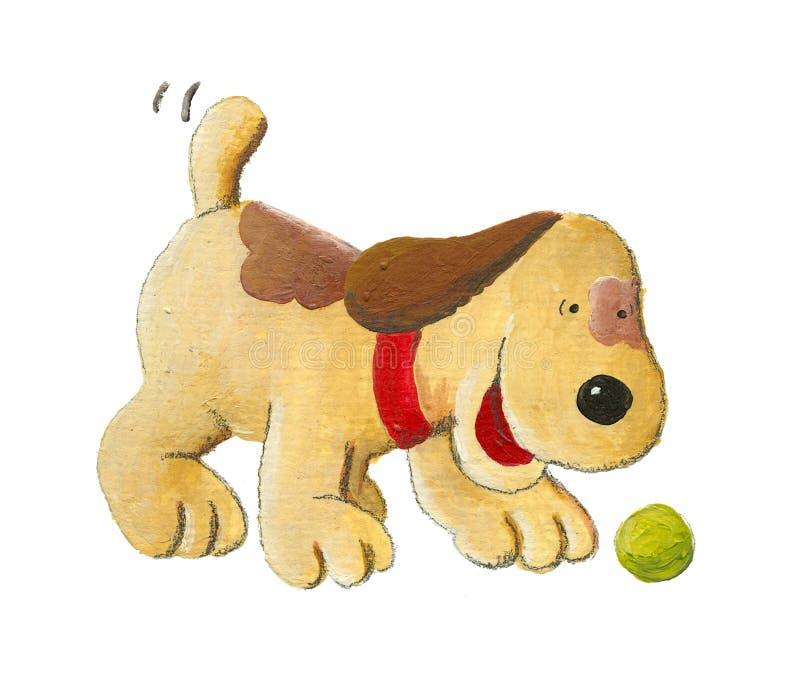 Puppyhond het spelen met bal vector illustratie