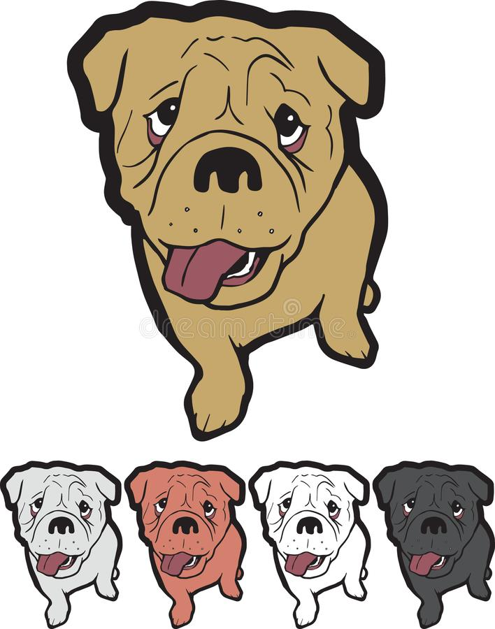 Puppymascotte Logo English Bulldog stock afbeeldingen