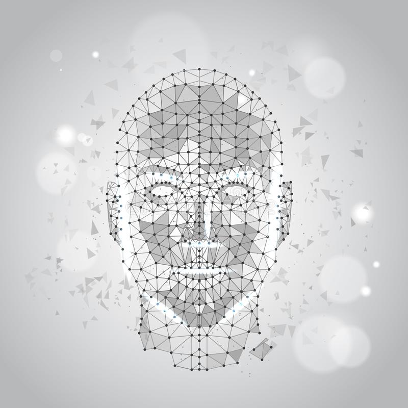 Puré bajo de Wireframe del rostro humano del polígono en Grey Background libre illustration