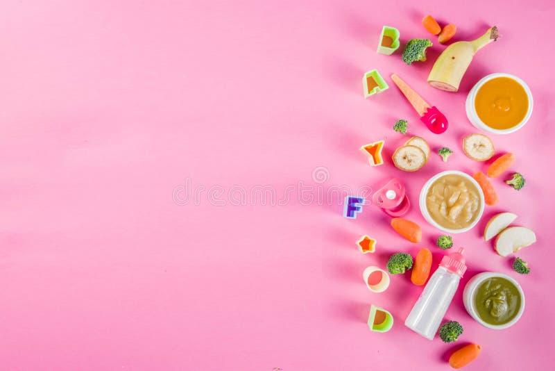 Puré colorido do comida para bebê fotos de stock royalty free
