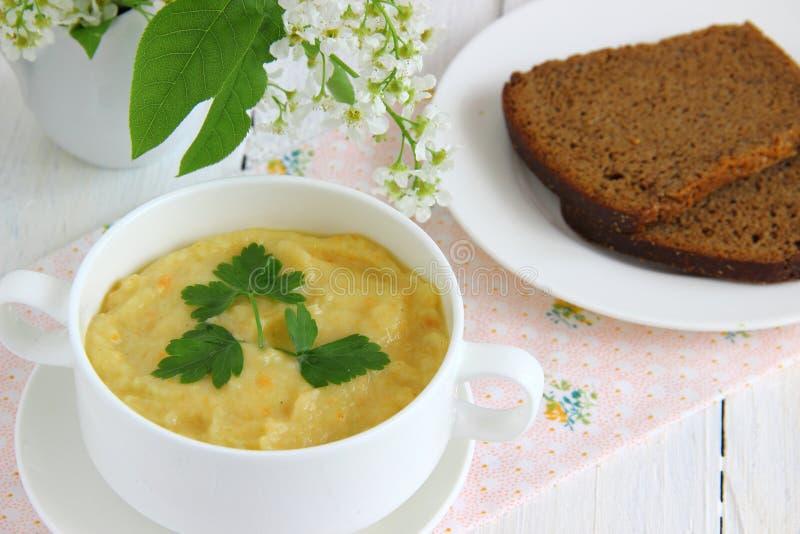 Puré verde da sopa de vegetais imagem de stock royalty free