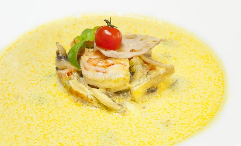 Purée de soupe à crevette des champignons photographie stock