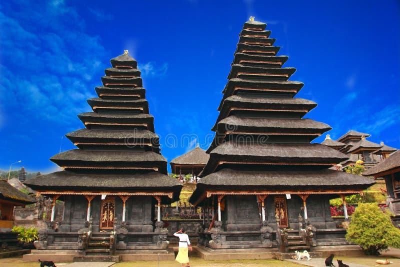 Pura Besakih is een tempel complex in het dorp van Besakih op de hellingen van Onderstel Agung in oostelijk Bali, Indonesië stock afbeelding