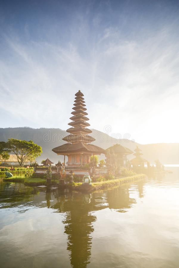 Pura Ulun Danu Beratan, Pura Bratan, Hindu Shaivite water temple on Bali. Pura Ulun Danu Beratan, or Pura Bratan, is a major Hindu royalty free stock photography