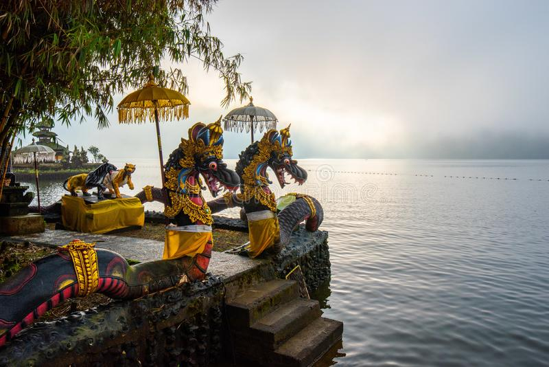 Pura Ulun Danu Beratan, or Pura Bratan, is a major Shaivite water temple on Bali, Indonesia. The temple complex is located on the. Shores of Lake Bratan in the royalty free stock photography