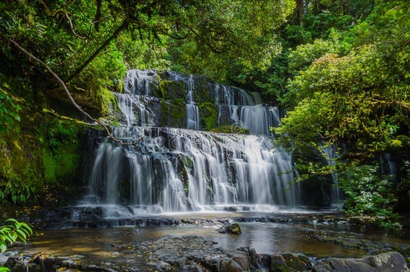 Purakaunui Falls, The Catlins, New Zealand. Purakaunui Falls, The Catlins, south island of New Zealand. Beautiful stairway waterfall stock photo