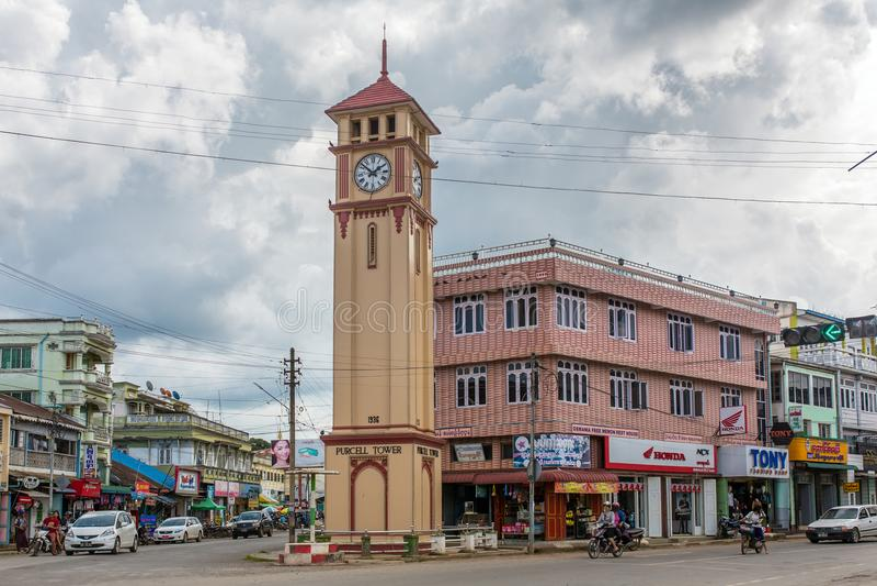 Purcell torn i staden Pyin Oo Lwin i Burma royaltyfri fotografi