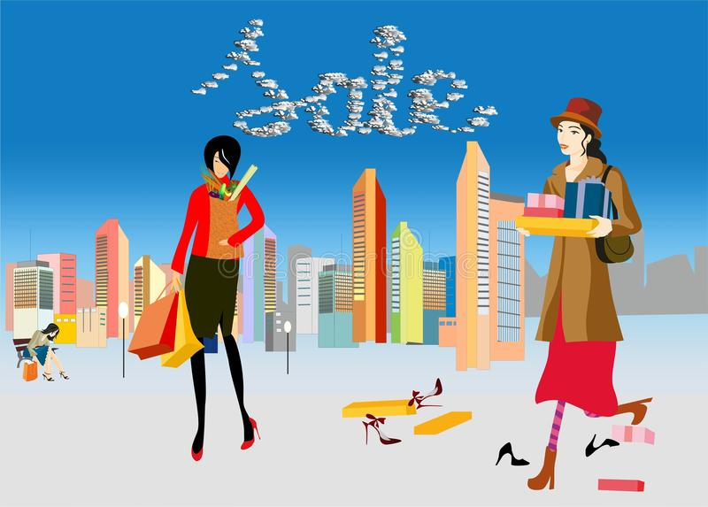 Purchase,. Composition with women who are coming from shopping