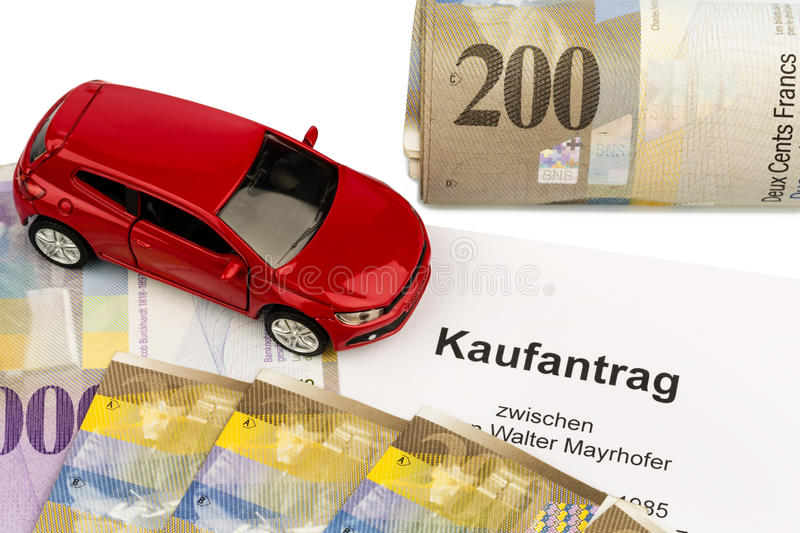 Purchase contract for new car stock image