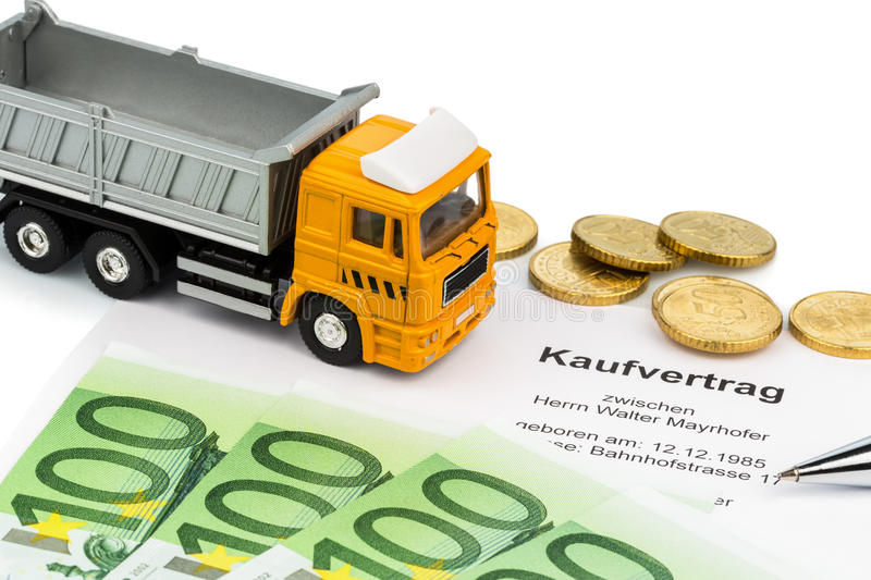 Purchase contract for new truck. A purchase contract for the new trucks. invest in new vehicles has cost advantages stock photo