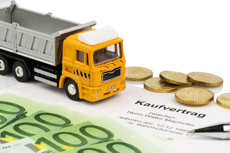 Purchase contract for new truck. A purchase contract for new trucks. investing in new vehicles brings cost advantages stock images