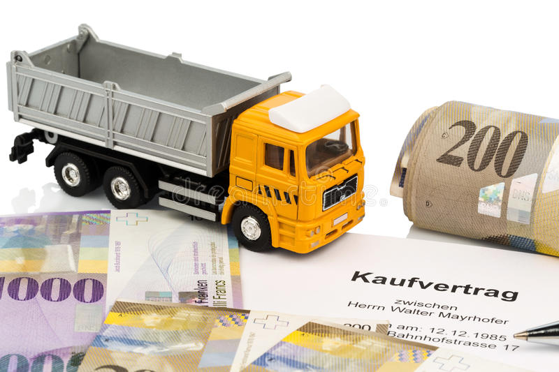 Purchase contract for new truck. The purchase contract for a new truck with a swiss car dealer. with the swiss franc stock photos