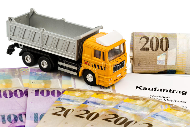 Purchase contract for new truck. The purchase contract for a new truck at a swiss car dealers. with swiss francs royalty free stock photography