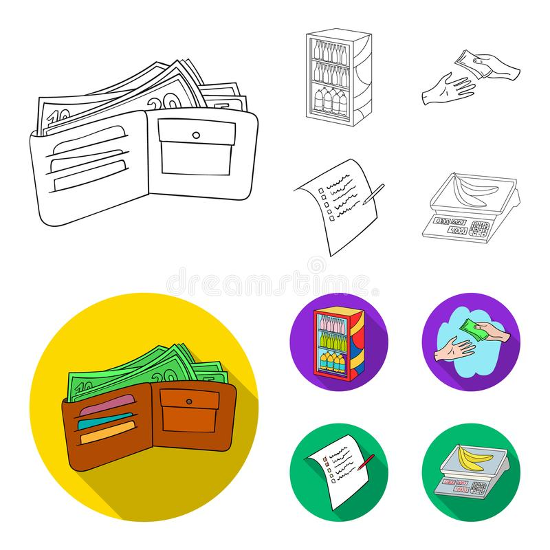 Purchase, goods, shopping, showcase .Supermarket set collection icons in outline,flat style vector symbol stock. Illustration stock illustration