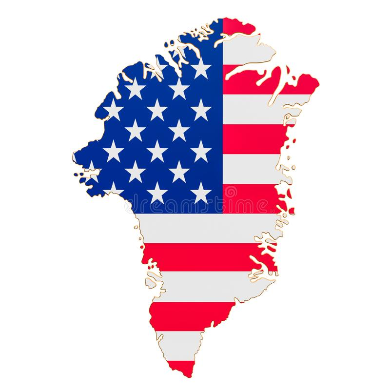 Purchase of Greenland concept, map of Greenland with USA flag. 3D rendering vector illustration