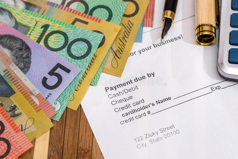 Purchase order with australian dollars and pen. On table royalty free stock images