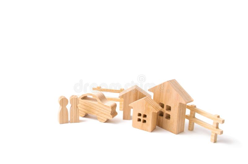 Purchase and sale of real estate, investment. . Construction of farms of industrial complexes. Wooden houses stock photos