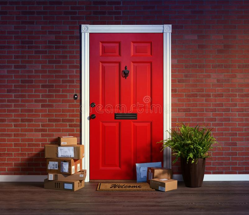 Purchased online, stacks of boxes are delivered to your front door. Purchased online, delivered to your front door, stacks of boxes are an easy target for theft stock photos