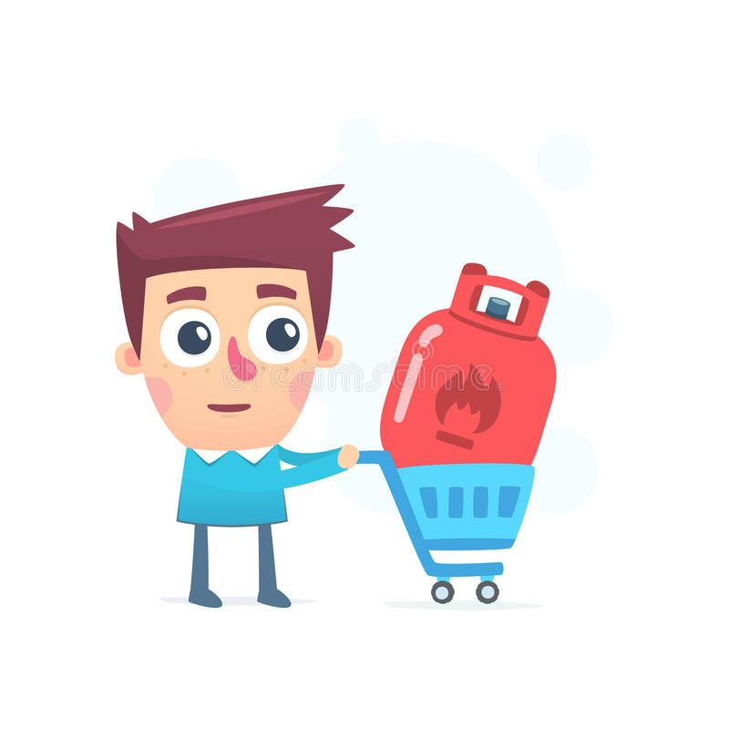 Purchasing gas. Cartoon conceptual illustration of funny character vector illustration