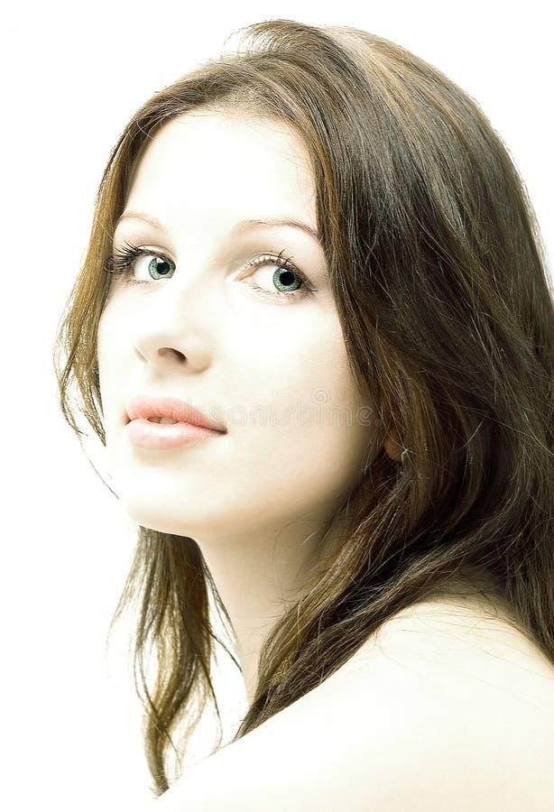 Pure. Hi-key brunette portrait stock photo
