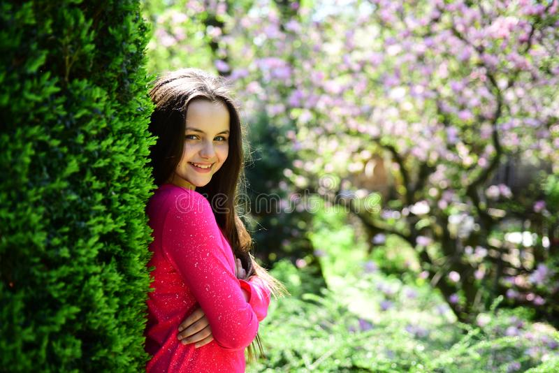 Pure beauty. Pretty girl with young face skin and no makeup. Young lady in spring garden. Cute girl on spring landscape. Beauty model with fresh look. Skincare stock photo