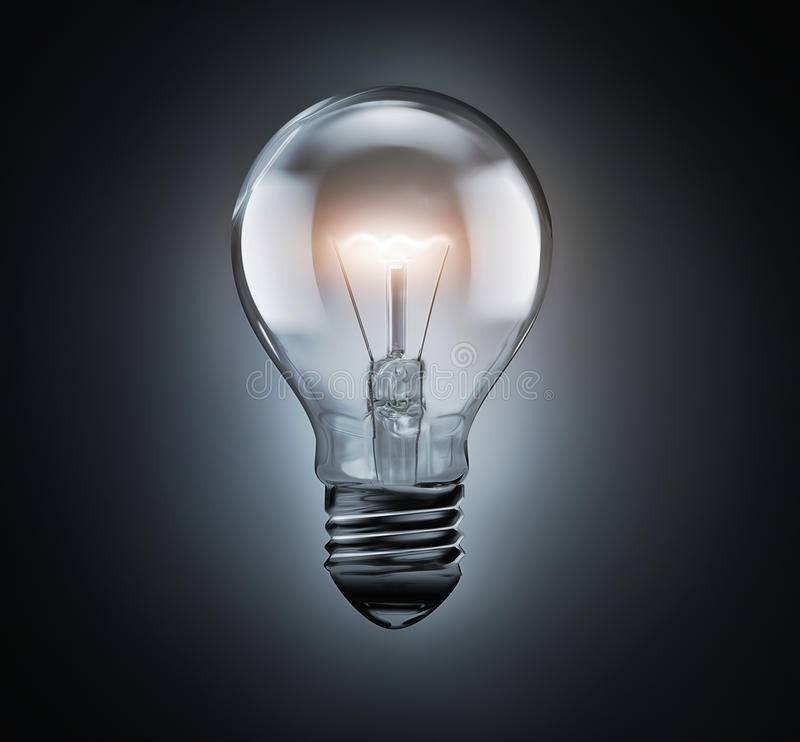 Pure bulb with shining light. On a dark background vector illustration