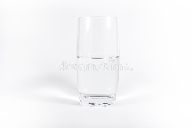 Pure Clean Glass of Water Simple Minimalistic White Background N stock images