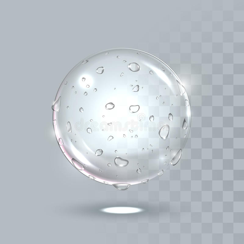 Pure clear water drops on surface. Vector realistic droplets spray. vector illustration