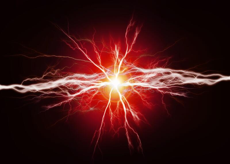 Pure Energy and Electricity Power in Red Bolts royalty free stock images