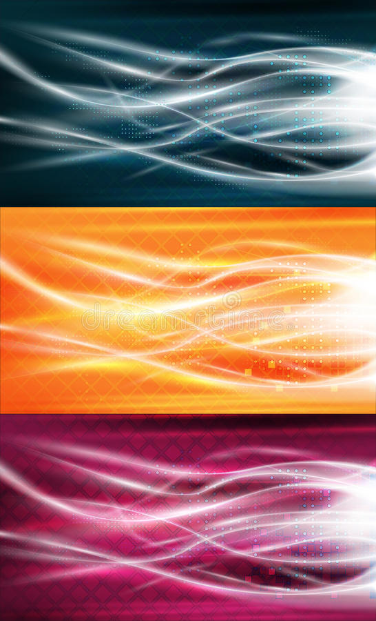 Pure energy flows background set stock illustration