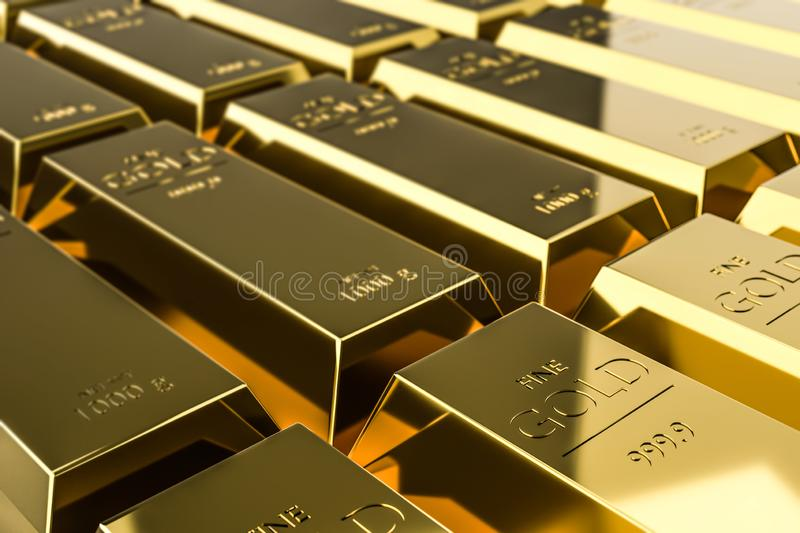 Pure gold bars on rich background of wealth from trading profits of fast growing businesses. Contracting profit in stock market royalty free illustration