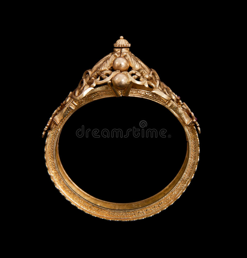 Pure Gold bracelet. Having itself craft of gold looking historic over black background stock images