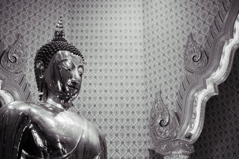 Pure gold Buddha sculpture at Wat Trimitr in China town Bangkok, Thailand stock image