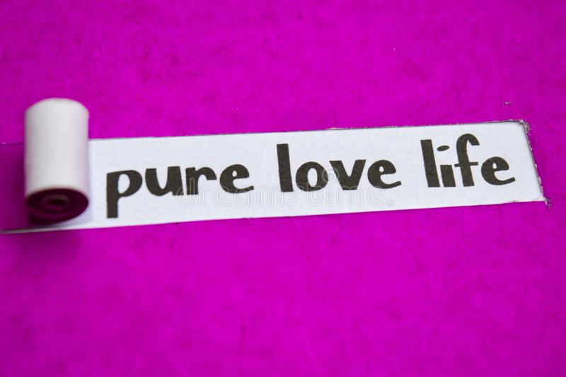 Pure Love Life text, Inspiration, Motivation and business concept on purple torn paper royalty free stock image