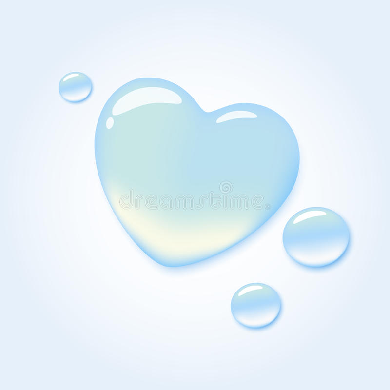 Pure love. Pure water drop in shape of heart stock illustration