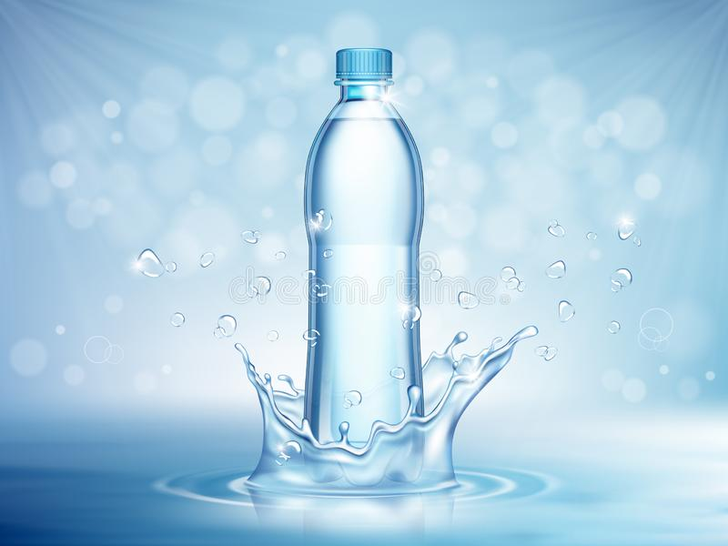 Pure mineral water, plastic bottle in the middle and flying water drop elements on blue background vector illustration