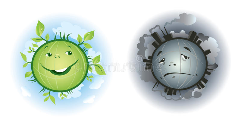 Download Pure And Polluted Earth Cartoons Stock Vector - Image: 24190193