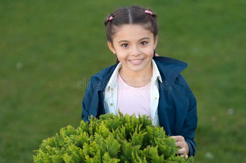 Pure smile. Honest smile of healthy kid. Autumn weather. Spring fashion for little girl. Park outdoor. Happy child with stock images